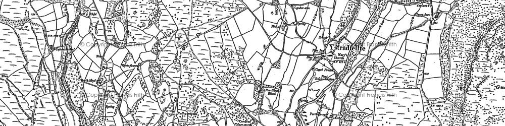 Old map of Ystradfellte in 1884