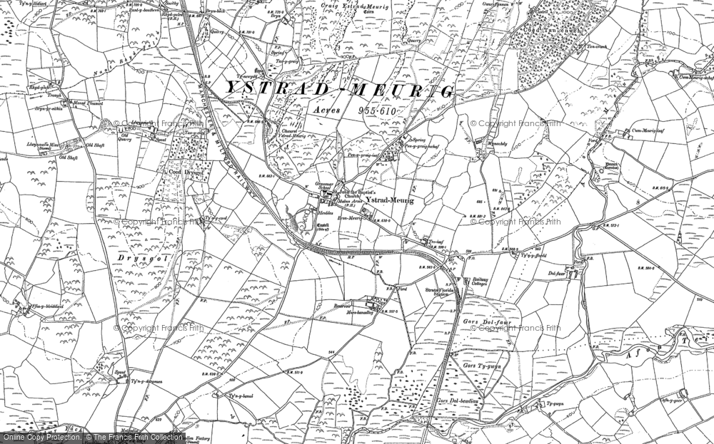 Old Map of Historic Map covering Afon Meurig in 1886