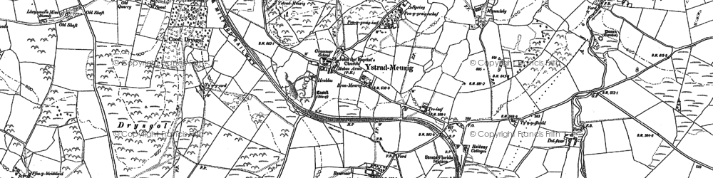 Old map of Afon Meurig in 1886
