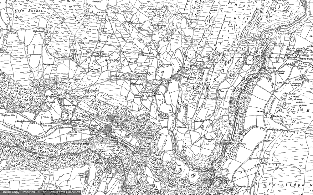 Old Map of Historic Map covering Afon Rheidol in 1886