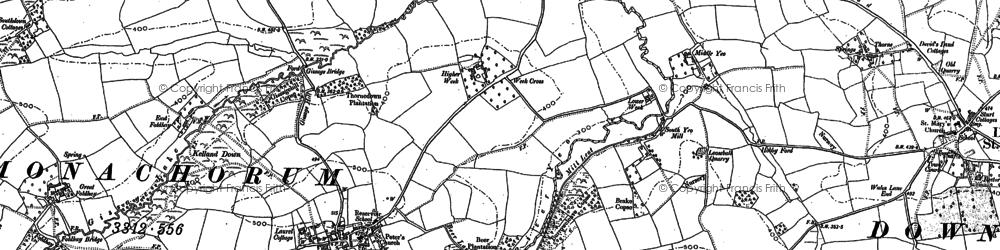Old map of Zeal Monachorum in 1886