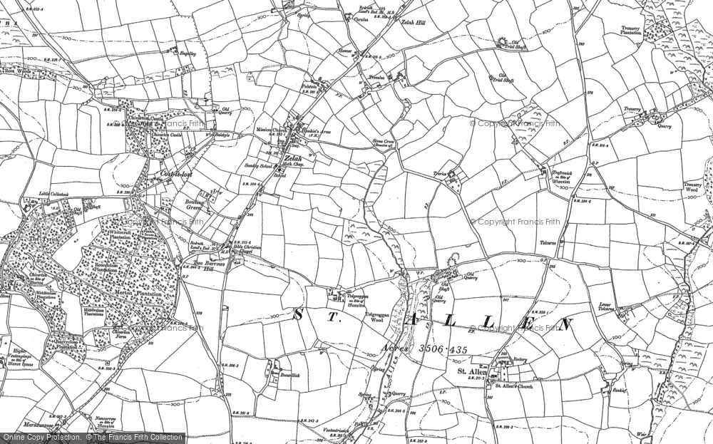 Old Map of Historic Map covering Tolcarne in 1906