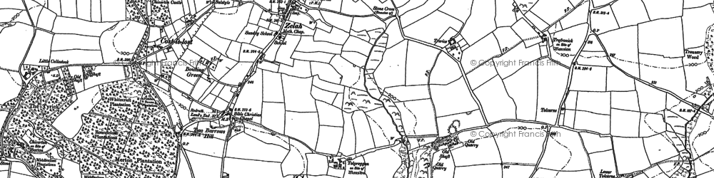 Old map of Zelah Hill in 1906