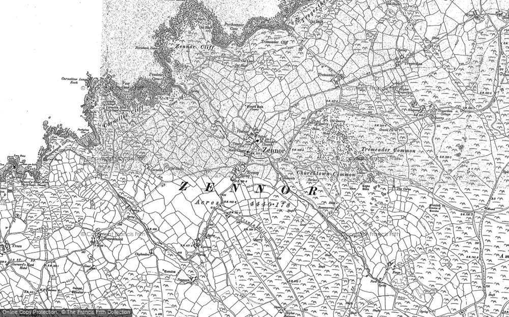 Old Map of Zennor, 1877 - 1906 in 1877