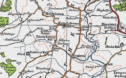 Old map of Abbess Roding in 1919