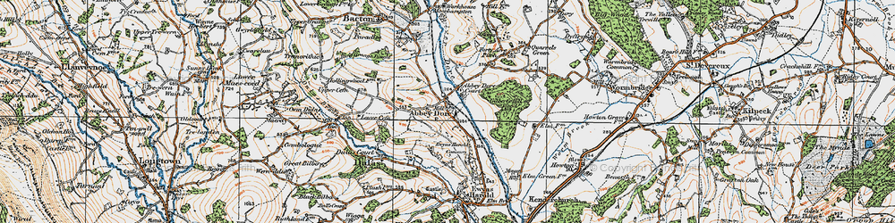 Old map of Abbey Dore in 1919