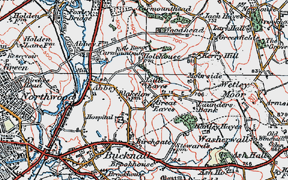 Old map of Abbey Hulton in 1921