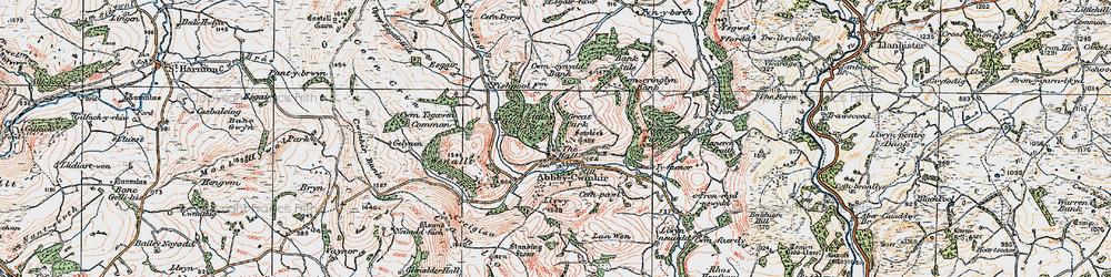 Old map of Abbeycwmhir in 1922