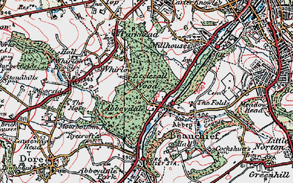 Old map of Abbeydale in 1923