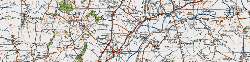 Old map of Abbot's Salford in 1919