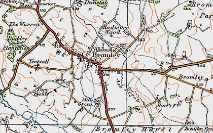 Old map of Abbots Bromley in 1921