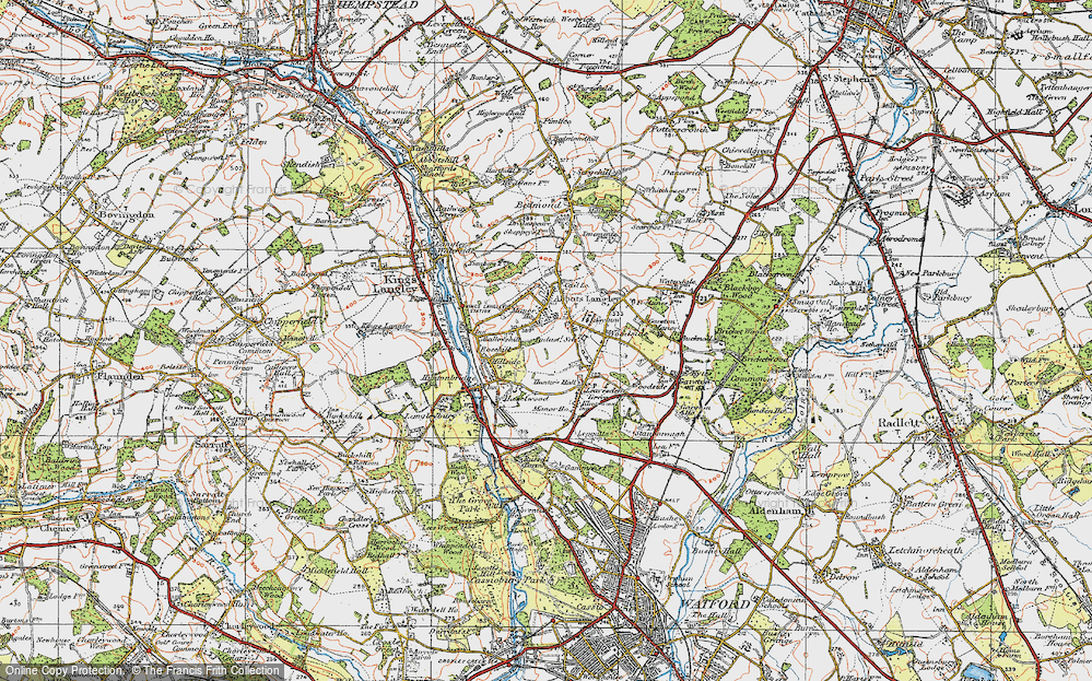 Old Map of Abbots Langley, 1920 in 1920