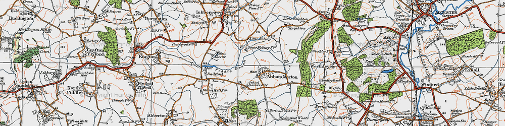 Old map of Abbots Morton in 1919