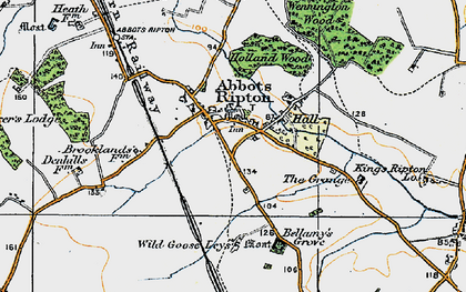 Old map of Abbots Ripton in 1920