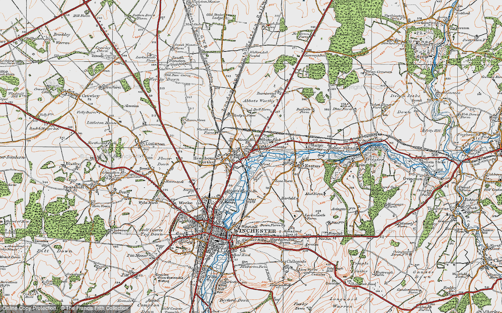 Old Map of Abbots Worthy, 1919 in 1919