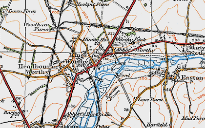 Old map of Abbots Worthy in 1919