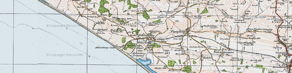 Old map of Abbotsbury Plains in 1919