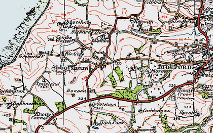 Old map of Abbotsham in 1919