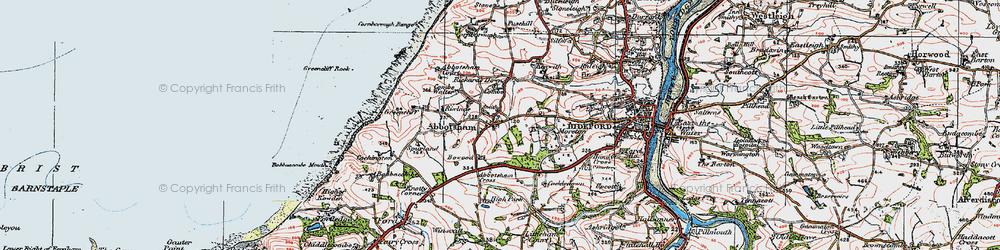 Old map of Abbotsham Cross in 1919