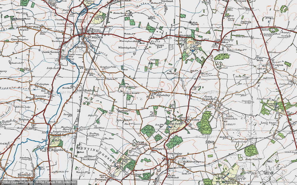 Old Map of Abbotsley, 1919 in 1919