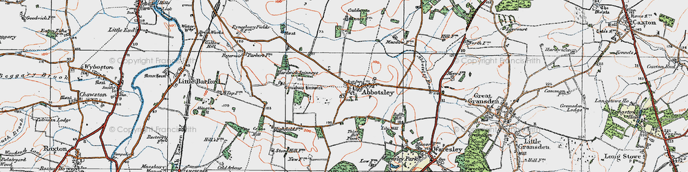 Old map of Abbotsley in 1919