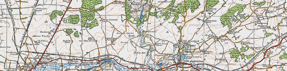 Old map of Abbotstone in 1919