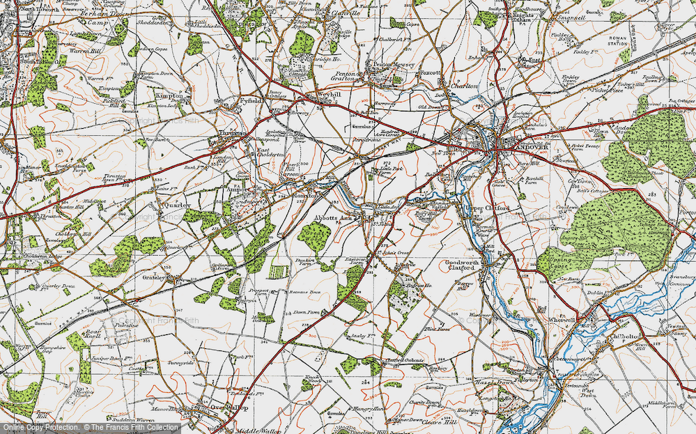 Old Map of Abbotts Ann, 1919 in 1919