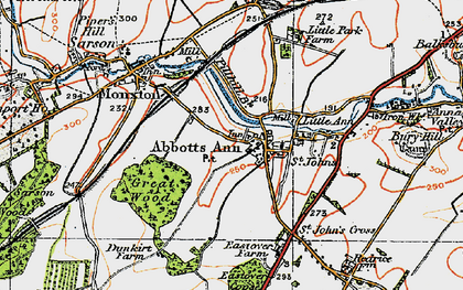 Old map of Abbotts Ann in 1919