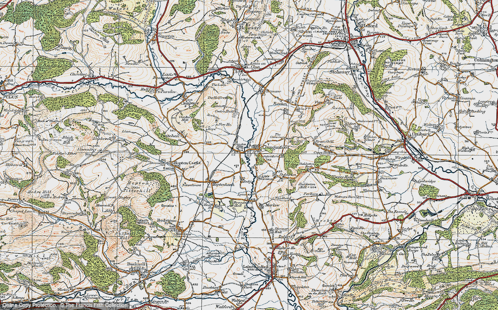 Old Map of Abcott, 1920 in 1920