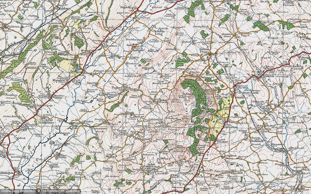 Old Map of Historic Map covering Abdon Liberty in 1921