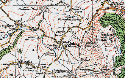 Old map of Abdon in 1921