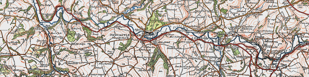 Old map of Aber Arad in 1923