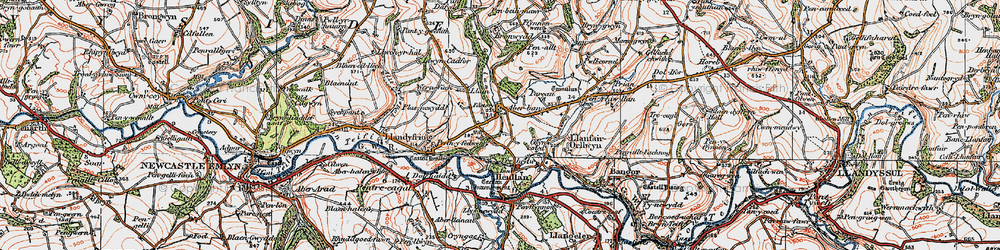 Old map of Aber-banc in 1923