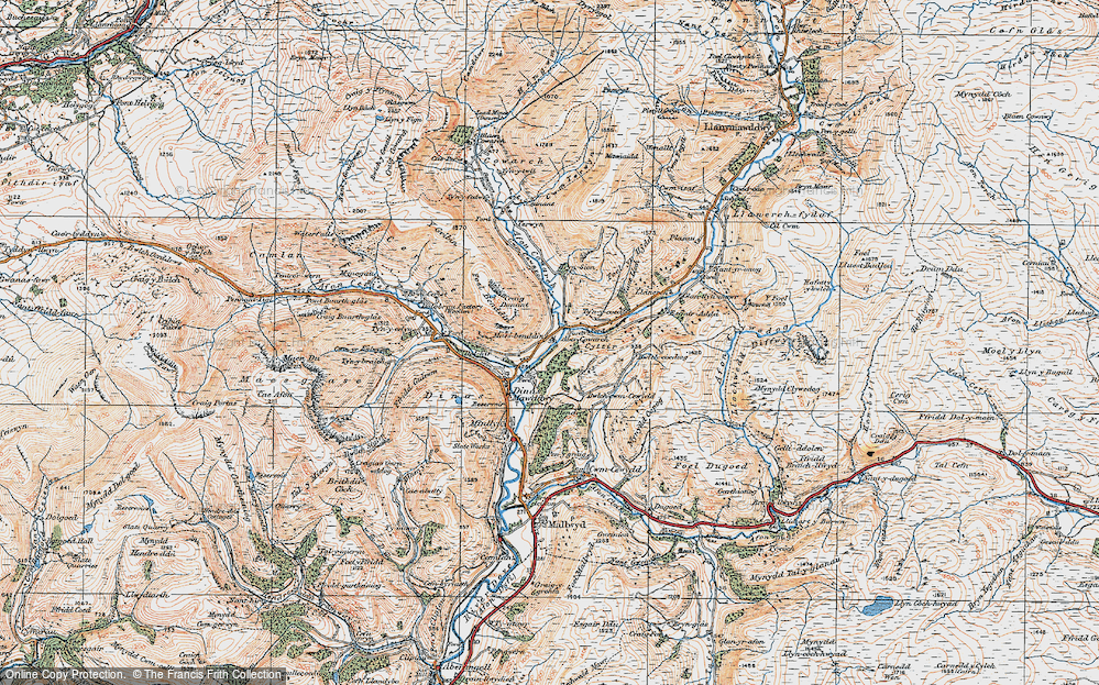 Old Map of Historic Map covering Afon Cywarch in 1921