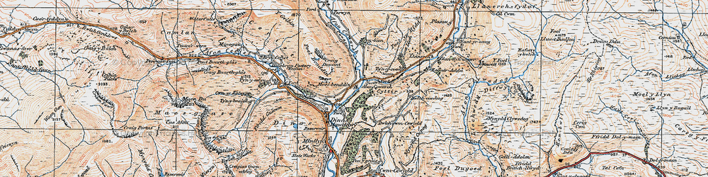 Old map of Afon Cywarch in 1921
