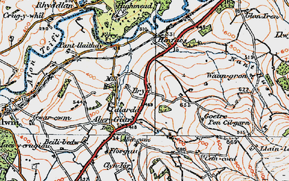 Old map of Aber-Giâr in 1923