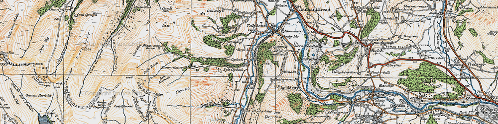 Old map of Aber Village in 1919