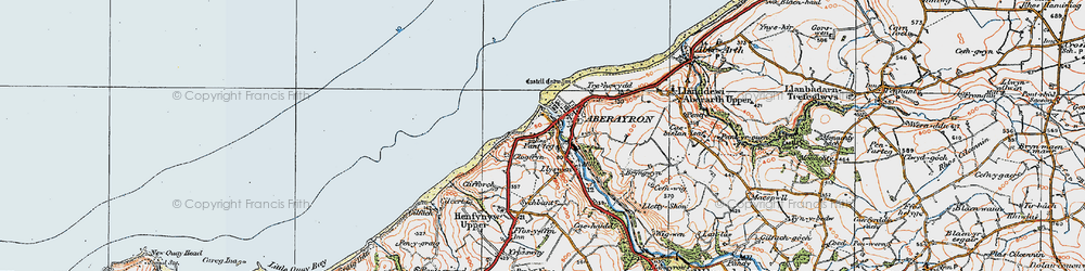 Old map of Aberaeron in 1923