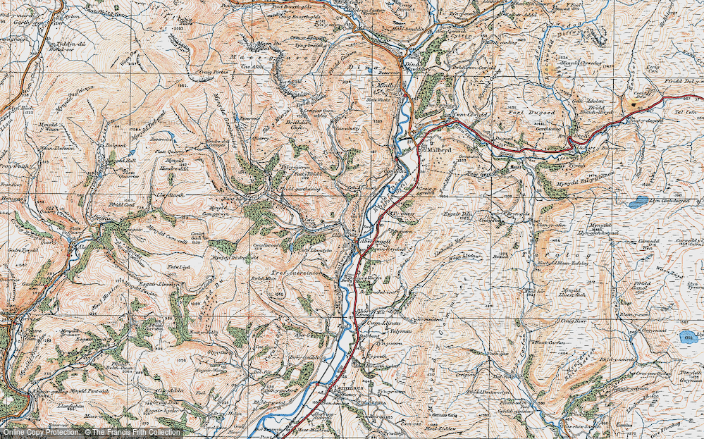 Old Map of Historic Map covering Afon Caws in 1921