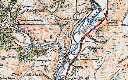 Old map of Aberangell in 1921