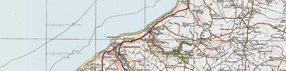 Old map of Aberarth in 1923