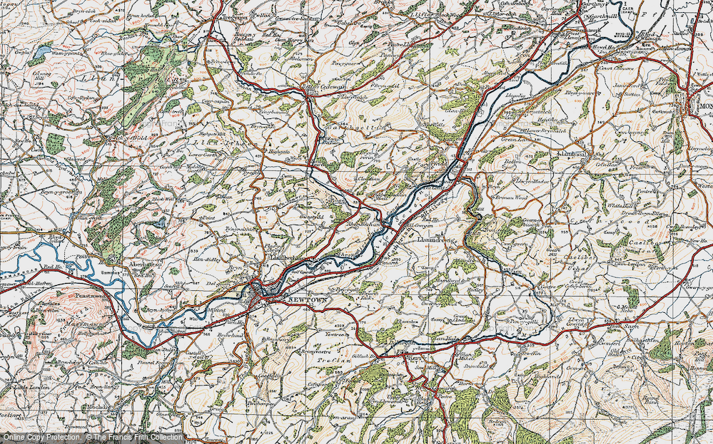 Old Map of Historic Map covering Aberbechan Dike in 1920