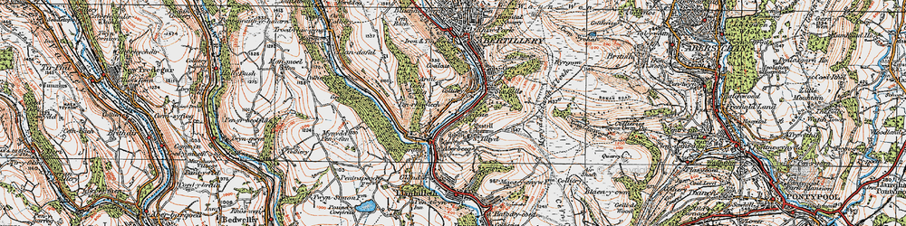 Old map of Aberbeeg in 1919