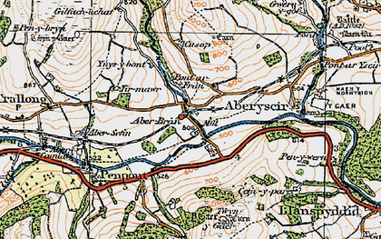 Old map of Aberbran in 1923