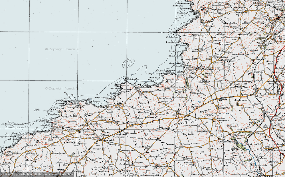 Old Map of Historic Map covering Aber Yw in 1922