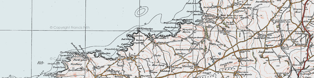Old map of Abercastle in 1922