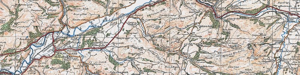 Old map of Abercegir in 1921
