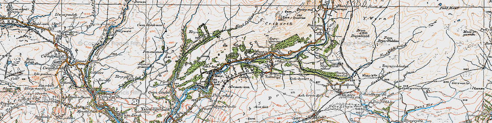 Old map of Abercraf in 1923