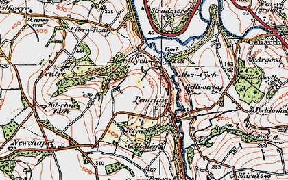 Old map of Afon Cych in 1923