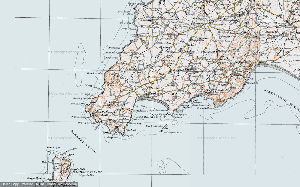 Old Map of Historic Map covering Aberdaron Bay in 1922